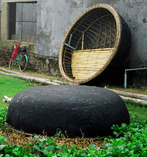 Big Round Woven Bamboo Boats