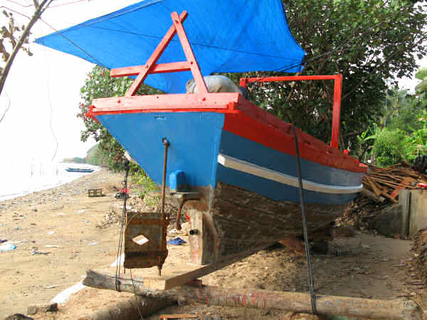Stern View of Long-shore Boat Near Ha Tien