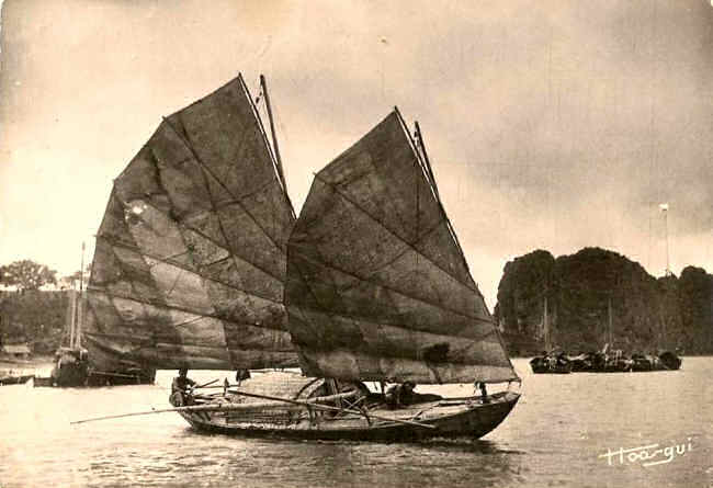 Old Batwing sailboat in Halong Bay