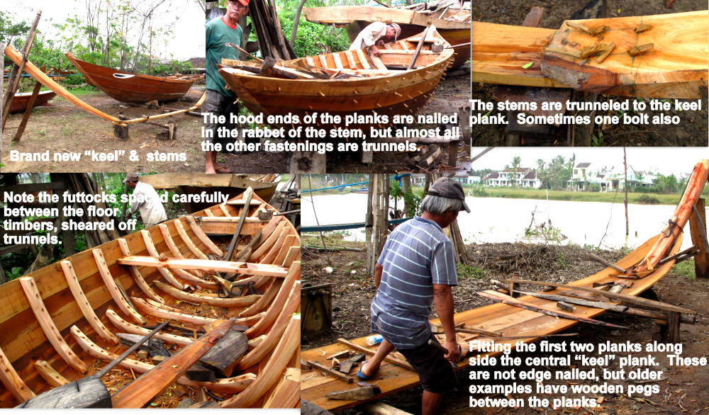 Construction details of Kim Bong Island traditional boat using trunnels: Vietnam