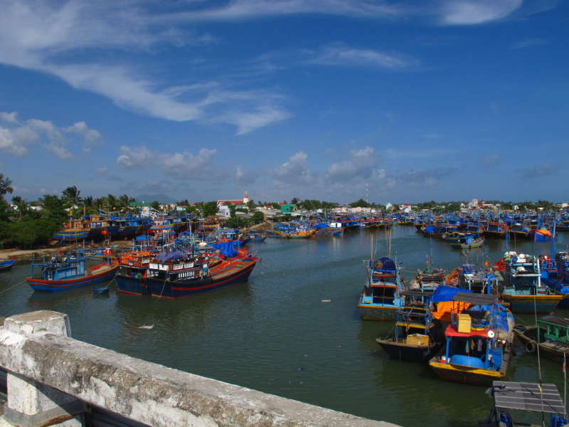 Boat harbor from the bridge at La Gi, Binh Thuan Province, Viet Nam