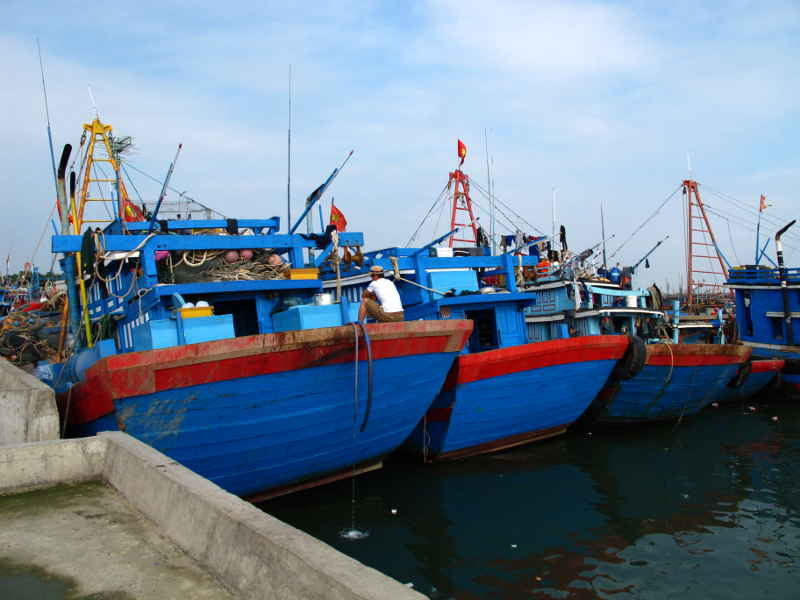 Modern Motor Fishing Boats in Ly Hoa: seine boats, all painted Nha Trang Blue with bright trim