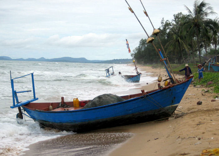 Two Small Blue Row Boats on the Beach near Duong Dong, Phu Quoc Island