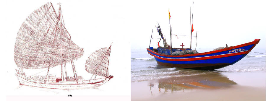 Pietri illustration of sailing Ghe Manh and modern motorized version in Sam Son.