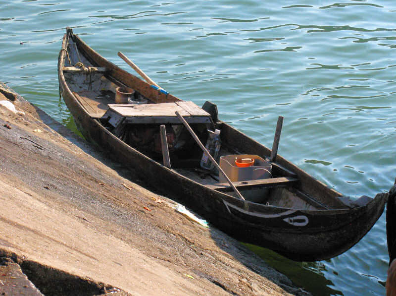 Motorized version of Quy Nhon style woven bamboo basket boat